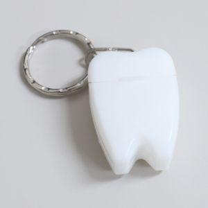 歯型デンタルフロス キーホルダー ホワイト 1個(メール便30点まで) ポイント消化|d-fit