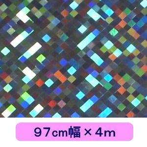 ホログラムシート チェッカー シルバー 97cm幅×4m ロール|d-form-holo