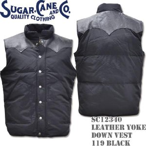 Sugar Cane(シュガーケーン) LEATHER YOKE DOWN VEST SC12340-119 Black d-park