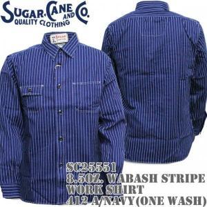 Sugar Cane(シュガーケーン)8.5oz. WABASH STRIPE WORK SHIRT(ウォバッシュ ストライプ ワークシャツ)412A One Wash SC25551-421A Navy d-park