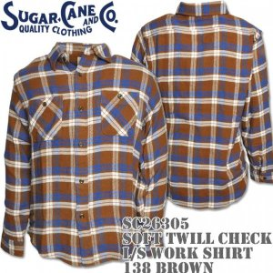 Sugar Cane シュガーケーン SOFT TWILL CHECK L/S WORK SHIRT SC26305-138 Brown|d-park