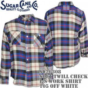 Sugar Cane(シュガーケーン)SOFT TWILL CHECK L/S WORK SHIRT SC26308-105 Off White d-park