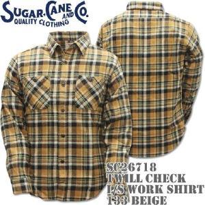Sugar Cane(シュガーケーン)TWILL CHECK L/S WORK SHIRT SC26718-133 Beige d-park