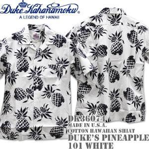 Duke Kahanamoku デューク カハナモク Made in U.S.A. COTTON OPEN SHIRT DUKE'S PINEAPPLE DK36074-101 White|d-park