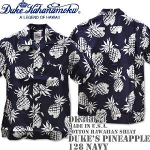 Duke Kahanamoku デューク カハナモク Made in U.S.A. COTTON OPEN SHIRT DUKE'S PINEAPPLE DK36074-128-Navy|d-park