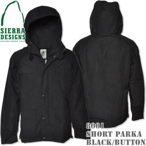 SIERRA DESIGNS シエラデザインズ SHORT PARKA ショートパーカー 8001 Black/Black Blackボタン|d-park