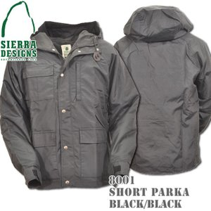 SIERRA DESIGNS シエラデザインズ SHORT PARKA ショートパーカー 8001 Black/Black Silverボタン|d-park