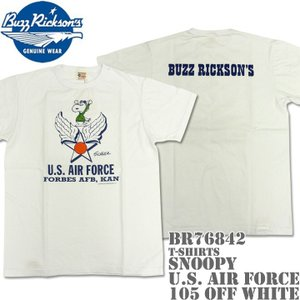 BUZZ RICKSON'S(バズリクソンズ)スヌーピーコラボTシャツ BR×PEANUTS RINGER TEE『SNOOPY U.S. AIR FORCE』BR76842-105 Off White|d-park