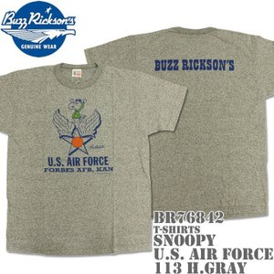 BUZZ RICKSON'S バズリクソンズ スヌーピーコラボTシャツ BRxPEANUTS RINGER TEE SNOOPY U.S. AIR FORCE BR76842-113 H.Gray|d-park