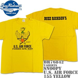 BUZZ RICKSON'S(バズリクソンズ)スヌーピーコラボTシャツ BR×PEANUTS RINGER TEE『SNOOPY U.S. AIR FORCE』BR76842-155 Yellow|d-park