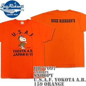 BUZZ RICKSON'S(バズリクソンズ)スヌーピーコラボTシャツ BR×PEANUTS RINGER TEE『SNOOPY U.S.A.F. YOKOTA A.B.』BR77097-159 Orange|d-park