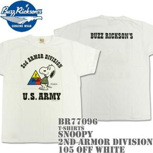 BUZZ RICKSON'S(バズリクソンズ)スヌーピーコラボTシャツ BR×PEANUTS RINGER TEE『SNOOPY 2nd ARMOR DIVISION』BR77096-105 Off White|d-park