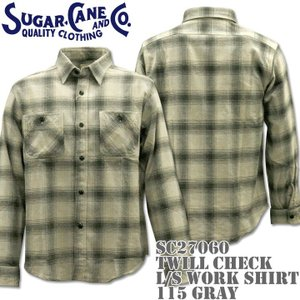 Sugar Cane シュガーケーン TWILL CHECK L/S WORK SHIRT SC27060-115 Gray|d-park