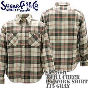 Sugar Cane シュガーケーン TWILL CHECK L/S WORK SHIRT SC27061-115 Gray|d-park