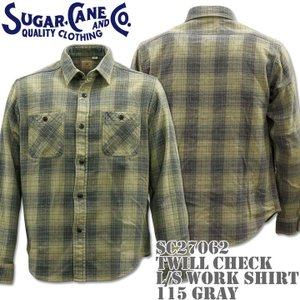 Sugar Cane シュガーケーン TWILL CHECK L/S WORK SHIRT SC27062-115 Gray|d-park