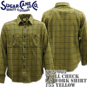 Sugar Cane(シュガーケーン)TWILL CHECK L/S WORK SHIRT SC27063-155 Yellow d-park