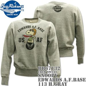 BUZZ RICKSON'S バズリクソンズ スヌーピーコラボ スウェット CREW SWEAT SNOOPY EDWARDS A.F.BASE BR67132-113 H.Gray|d-park