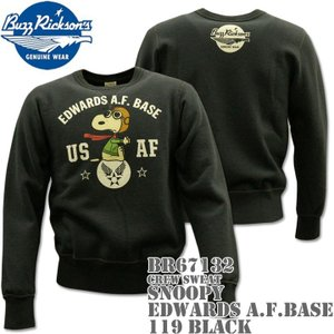 BUZZ RICKSON'S バズリクソンズ スヌーピーコラボ スウェット CREW SWEAT SNOOPY EDWARDS A.F.BASE BR67132-119 Black|d-park
