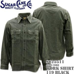 Sugar Cane(シュガーケーン)JEAN CORD L/S WORK SHIRT(ジーンコード・ワークシャツ)SC25511-119 Black d-park