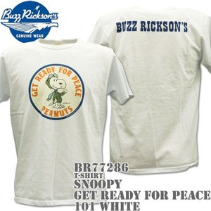 BUZZ RICKSON'S(バズリクソンズ)スヌーピーコラボTシャツ BR×PEANUTS RINGER TEE『GET READY FOR PEACE』BR77286-101 White|d-park