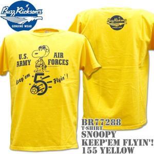 BUZZ RICKSON'S(バズリクソンズ)スヌーピーコラボTシャツ BR×PEANUTS RINGER TEE『Keep'em Flyin'!』BR77288-155 Yellow|d-park