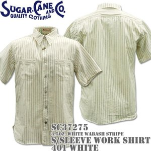 Sugar Cane シュガーケーン F/ROMANCE 8.5oz. White WABASH STRIPE WORK SHIRT S/Sleeve SC37275-401 White|d-park
