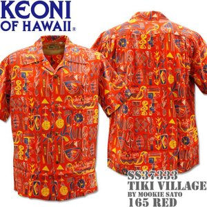 SUN SURF サンサーフ アロハシャツ HAWAIIAN SHIRT KEONI OF HAWAII / TIKI VILLAGE by Mookie Sato SS37333-165 Red|d-park