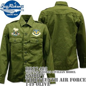 BUZZ RICKSON'S バズリクソンズ スヌーピーコラボ BRxPEANUTS VIET-NAM SHIRTS CIVILIAN MODEL SNOOPY THIRTEENTH AIR FORCE BR27482-149 Olive|d-park