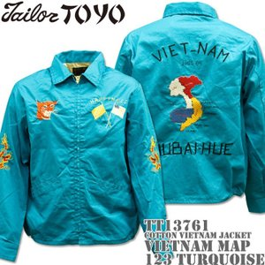 テーラー東洋 TAILOR TOYO ベトナムジャケット COTTON VIETNAM JACKET VIETNAM MAP TT13761-123 Turquoise|d-park
