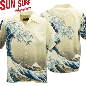 SUN SURF サンサーフx北斎 アロハシャツ HAWAIIAN SHIRT SPECIAL EDITION / 神奈川沖波裏 SS37651-105 Off White|d-park