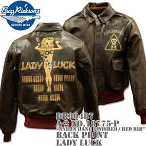BUZZ RICKSON'S(バズリクソンズ)フライトジャケット A-2 NO.18775-P『Anilin Hand Finished / red rib』BACK PRINT LADY LUCK BR80487 d-park