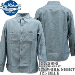 BUZZ RICKSON'S バズリクソンズ BLUE CHAMBRAY L/S WORK SHIRT シャンブレーワークシャツ BR25995-125 Blue|d-park