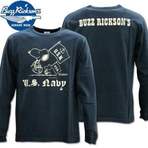 BUZZ RICKSON'S ( バズリクソンズ ) スヌーピーコラボTシャツ BR×PEANUTS RINGER TEE 『 SNOOPY U.S. NAVY 』 BR68125-128 Navy d-park