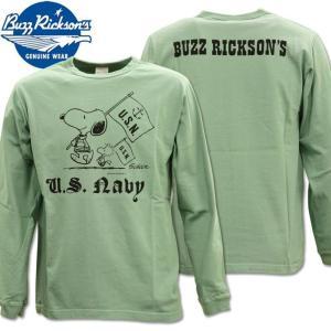 BUZZ RICKSON'S ( バズリクソンズ ) スヌーピーコラボTシャツ BR×PEANUTS RINGER TEE 『 SNOOPY U.S. NAVY 』 BR68125-148 Sage Green d-park