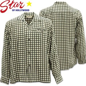 Star OF HOLLYWOOD スターオブハリウッド L/S Open Shirt SQUARE GRID SH28125-105 Off White|d-park