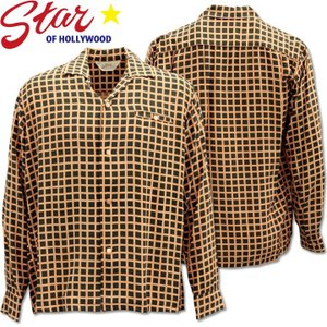 Star OF HOLLYWOOD ( スターオブハリウッド ) L/S Open Shirt 『 SQUARE GRID 』 SH28125-119 Black d-park
