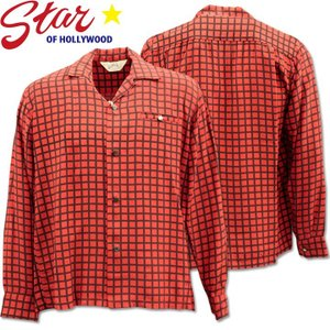 Star OF HOLLYWOOD ( スターオブハリウッド ) L/S Open Shirt 『 SQUARE GRID 』 SH28125-165 Red d-park