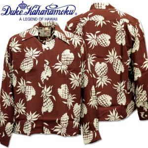 Duke Kahanamoku デューク カハナモク アロハシャツ SPECIAL EDITION DUKE'S PINEAPPLE L/Sleeve DK26793-138 Brown|d-park