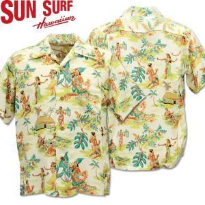 SUN SURF ( サンサーフ ) アロハシャツ HAWAIIAN SHIRT 『 LUAU 』 SS38025-105 Off White|d-park