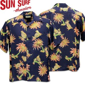 SUN SURF ( サンサーフ ) アロハシャツ HAWAIIAN SHIRT 『 STUDDED WITH PALM TREE AND PINEAPPLE 』 SS38032-128 Navy|d-park