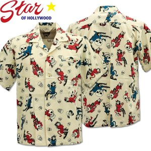Star OF HOLLYWOOD × VINCE RAY ( スターオブハリウッド×ヴィンス・レイ ) Open Shirt 『 THE DEVIL SKULL GIRLS 』 SH38115-105 Off White d-park