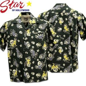 Star OF HOLLYWOOD × VINCE RAY ( スターオブハリウッド×ヴィンス・レイ ) Open Shirt 『 THE DEVIL SKULL GIRLS 』 SH38115-119 Black d-park