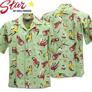 Star OF HOLLYWOOD × VINCE RAY ( スターオブハリウッド×ヴィンス・レイ ) Open Shirt 『 THE DEVIL SKULL GIRLS 』 SH38115-141 Mint Green d-park