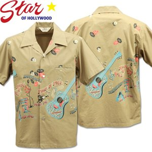 Star OF HOLLYWOOD スターオブハリウッド Open Shirt ROCK'N'ROLL GUITAR SH38117-115 Gray|d-park