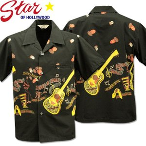 Star OF HOLLYWOOD スターオブハリウッド Open Shirt ROCK'N'ROLL GUITAR SH38117-119 Black|d-park