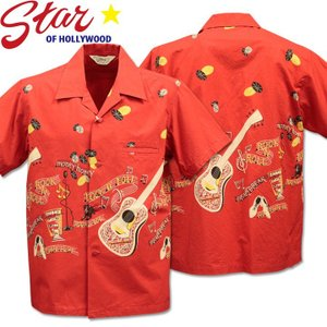Star OF HOLLYWOOD スターオブハリウッド Open Shirt ROCK'N'ROLL GUITAR SH38117-165 Red|d-park