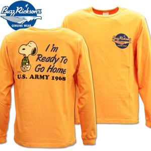 BUZZ RICKSON'S バズリクソンズ スヌーピーコラボTシャツ BRxPEANUTS L/S TEE I'm Ready To Go Home BR68359-159 Orange|d-park