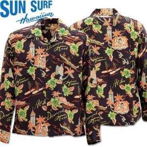 SUN SURF(サンサーフ)アロハシャツ HAWAIIAN SHIRT『ALOHA HAWAII』L/SLEEVE SS28303-119 Black|d-park