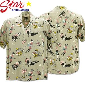 Star OF HOLLYWOOD × VINCE RAY(スターオブハリウッド×ヴィンス・レイ)Open Shirt『GIRLS'N'GUITARS』SH38375-115 Gray|d-park