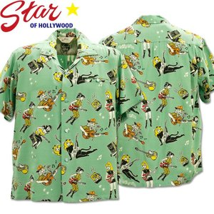 Star OF HOLLYWOOD × VINCE RAY(スターオブハリウッド×ヴィンス・レイ)Open Shirt『GIRLS'N'GUITARS』SH38375-141 M.Green|d-park